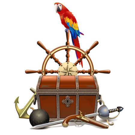 Treasure Hunt Concept with Parrot isolated on white Çizim