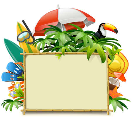 Vector Beach Accessories with Bamboo Frame isolated on white background
