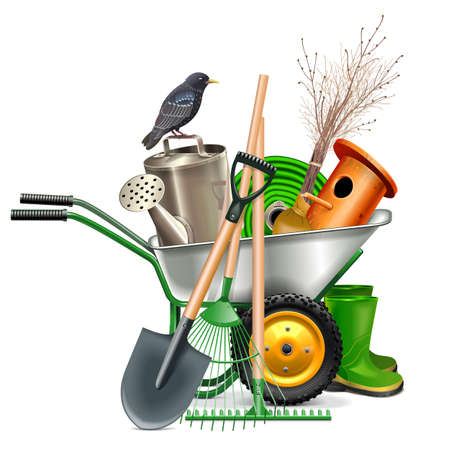 Concept de printemps de vecteur avec des outils de jardin isolé sur fond blanc