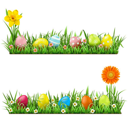 Vector Easter Border with Flowers isolated on white background Ilustracja