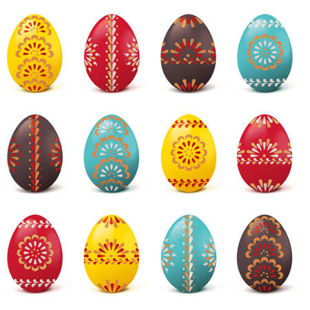 Vector Easter Painted Eggs isolated on white background