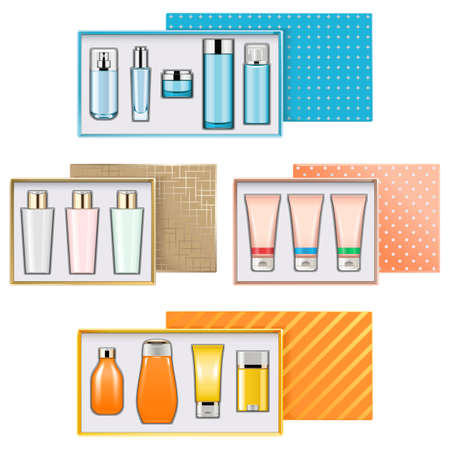Vector Gift Boxes with Cosmetics Set 3 isolated on white background