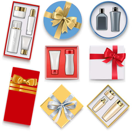 Vector Gift Boxes with Cosmetics isolated on white background