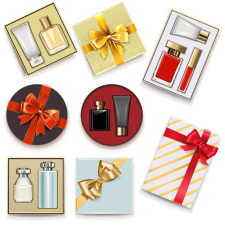 Vector Gift Boxes with Perfumery isolated on white background Ilustracja