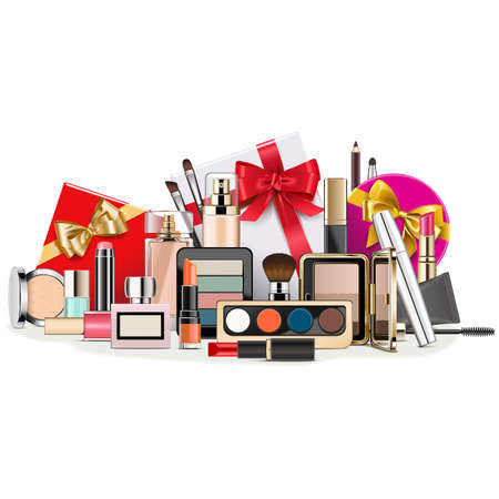 Vector Gift Concept with Makeup Cosmetics isolated on white background Ilustracja