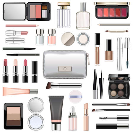 Vector Makeup Cosmetics with Silver Cosmetic Bag isolated on white background Ilustracja