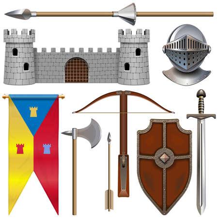 Vector Knight Armor Icons Set 1 isolated on white background Ilustracja