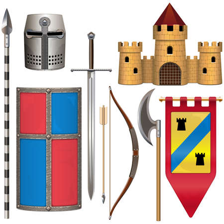 Vector Knight Armor Icons Set 2 isolated on white background