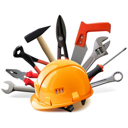 Vector Orange Helmet with Hand Tools isolated on white background