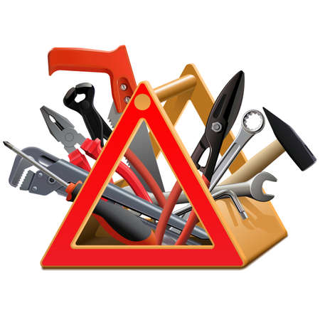 Vector Triangular Toolbox isolated on white background