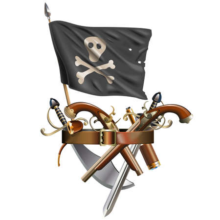 Vector Weapon Belt with Pirate Flag isolated on white background