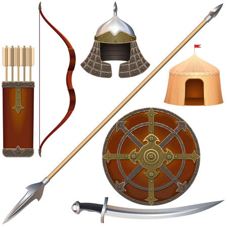 Vector Nomadic Knight Armor Icons Set 4 isolated on white background