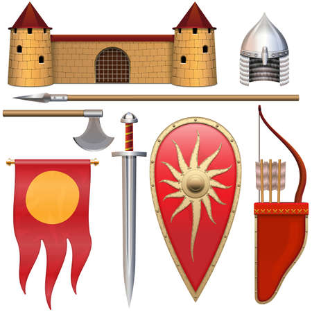 Vector Slavic Knight Armor Icons Set 3 isolated on white background