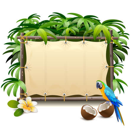 Vector Canvas Tropics Frame isolated on white background