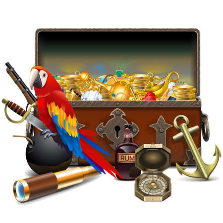 Vector Old Pirate Chest with Parrot isolated on white background Vettoriali