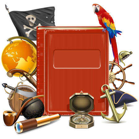 Vector Pirate Concept with Book isolated on white background Ilustracja