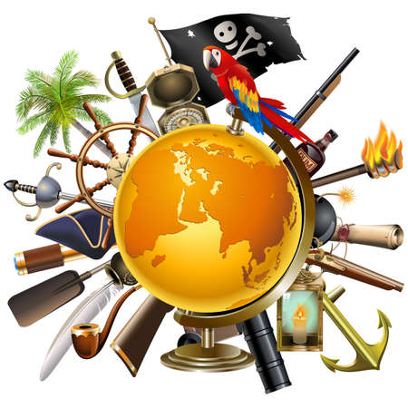 Vector Pirate Concept with Globe isolated on white background Ilustracja
