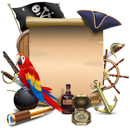 Vector Pirate Paper Scroll isolated on white background