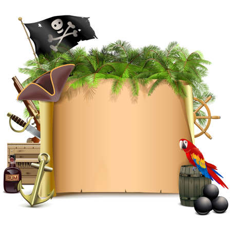 Vector Pirate Scroll with Palm Tree isolated on white background