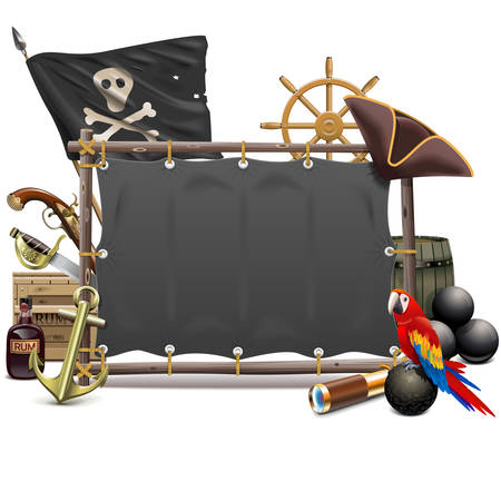 Vector Sail Pirate Frame isolated on white background