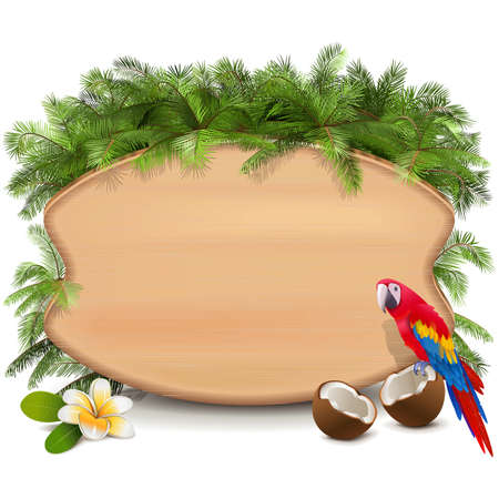 Vector Tropics Wooden Board isolated on white background