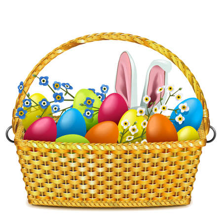 Vector Easter Basket with Colorful Eggs isolated on white background