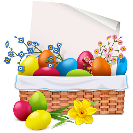 Vector Easter Basket with Greeting Card isolated on white background