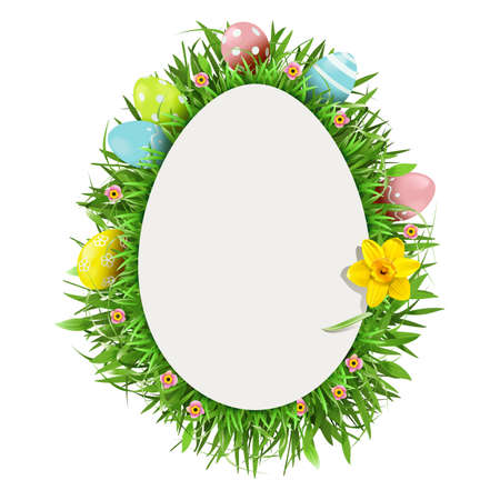 Vector Easter Greeting Card with Narcissus isolated on white background
