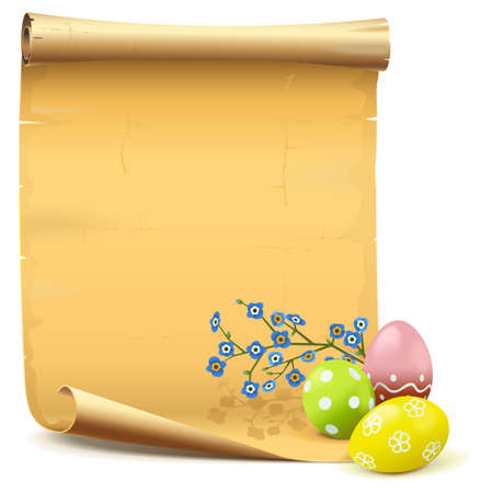 Vector Easter Paper Scroll isolated on white background Ilustracja