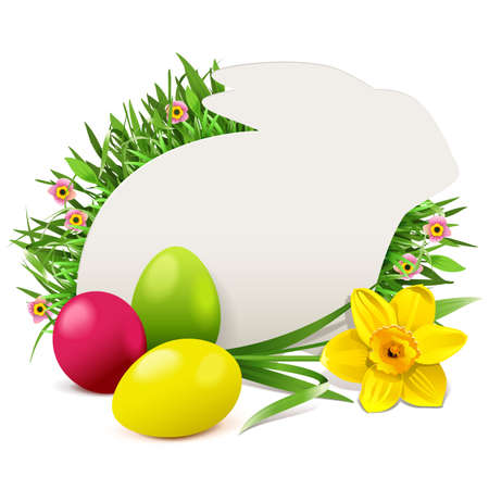 Vector Easter Rabbit Greeting Card isolated on white background Ilustracja