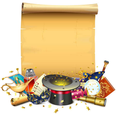 Vector Magic Concept with Paper Scroll isolated on white background