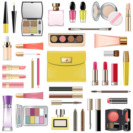 Vector Makeup Cosmetics with Yellow Cosmetic Bag isolated on white background Ilustracja