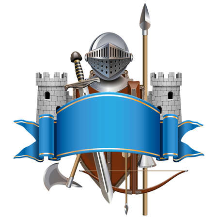 Vector Blue Banner with Knight Armor isolated on white background Ilustracja