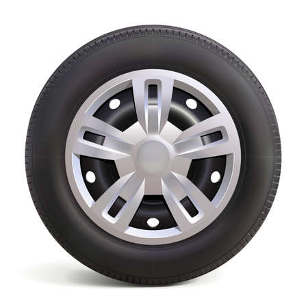 Vector Car Wheel with Disk isolated on white background