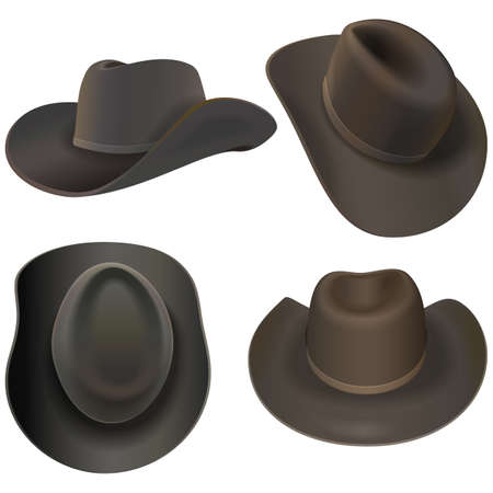 Vector Cowboy Hats isolated on white background Ilustracja
