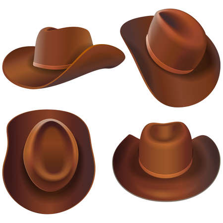 Vector Cowboy Leather Hats isolated on white background