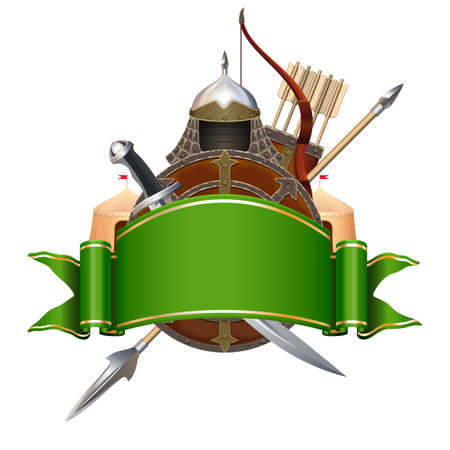 Vector Green Banner with Knight Armor isolated on white background