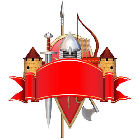 Vector Red Banner with Knight Armor isolated on white background
