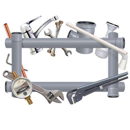 Vector Sanitary Engineering Frame isolated on white background Illustration