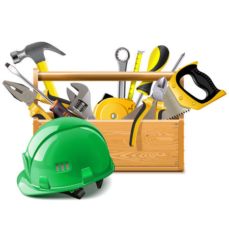 Vector Toolbox with Construction Helmet isolated on white background Ilustracja