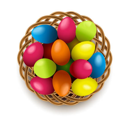 Vector Easter Eggs with Wicker Basket isolated on white background