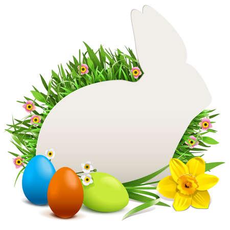 Vector Easter Rabbit Postcard isolated on white background Ilustracja