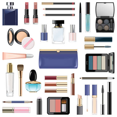 Vector Makeup Cosmetics with Blue Cosmetic Bag isolated on white background Ilustracja