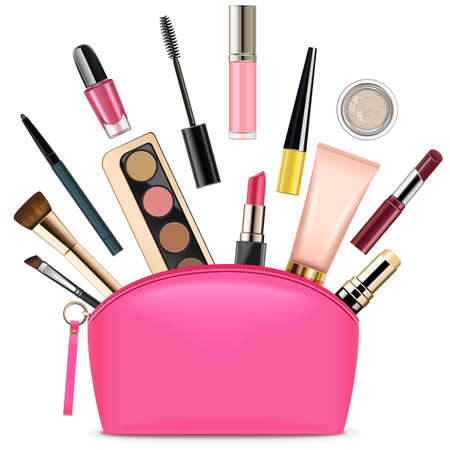 Vector Pink Beautician with Cosmetics isolated on white background Ilustracja