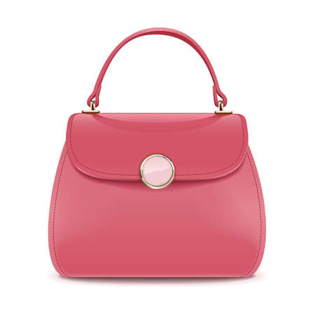 Vector Pink Female Handbag isolated on white background Ilustração