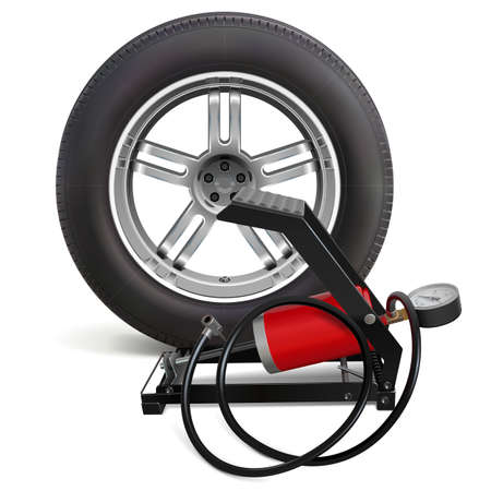 Vector Car Wheel with Pump isolated on white background