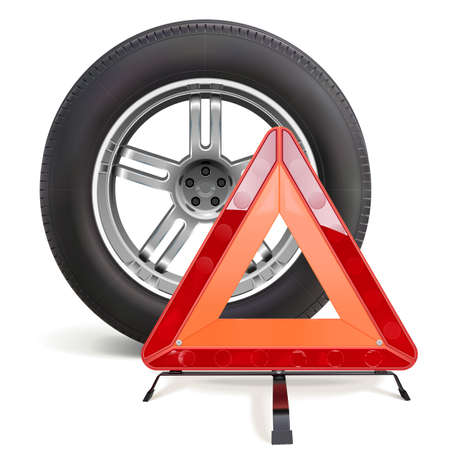Vector Car Wheel with Triangle Sign isolated on white background