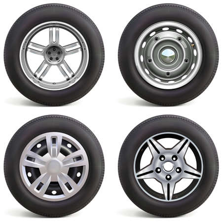 Vector Car Wheels with Rims isolated on white background