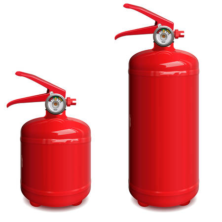 Vector Red Fire Extinguisher isolated on white background