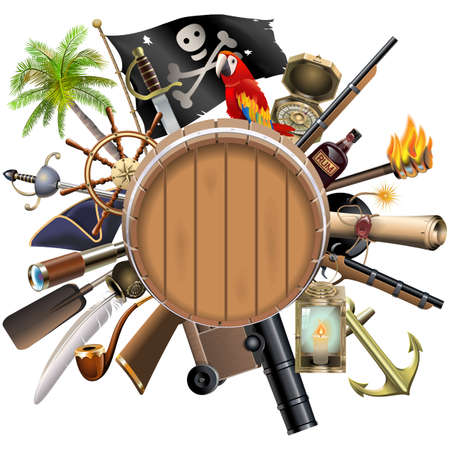 Vector Wooden Barrel with Pirate Accessories isolated on white background